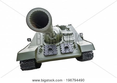 Tank. Military armored car. The second world war. Protective green color. A big powerful gun. The black metal tracks. Victory in warfare. Armed conflict. Isolated on white background.