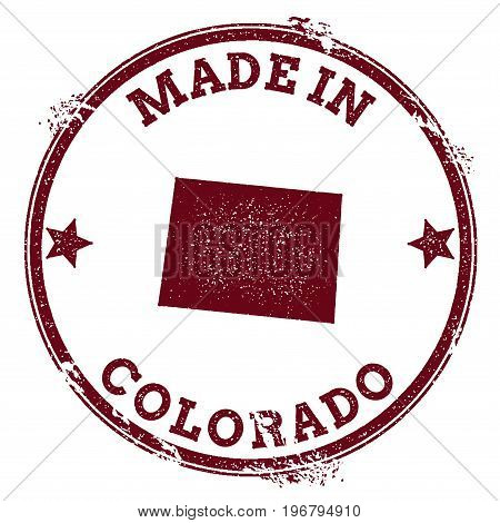 Colorado Vector Seal. Vintage Usa State Map Stamp. Grunge Rubber Stamp With Made In Colorado Text An
