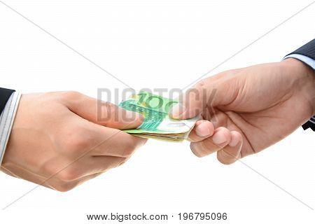 Hands passing money - Euro (EUR) bills