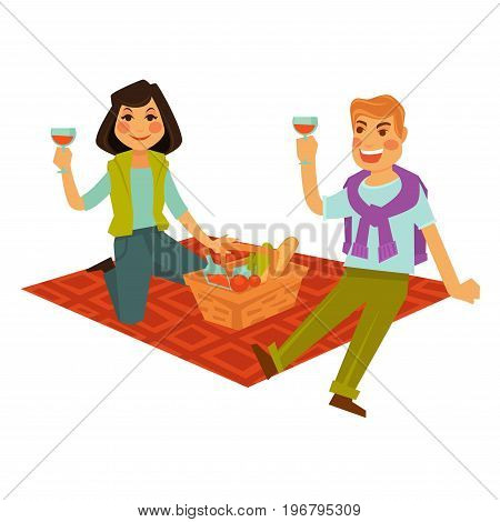 Husband and wife drink beverage and sit on red blanket with basket full of fresh bread, ripe vegetables and sweet soda isolated vector illustration on white background. Married couple out on picnic.
