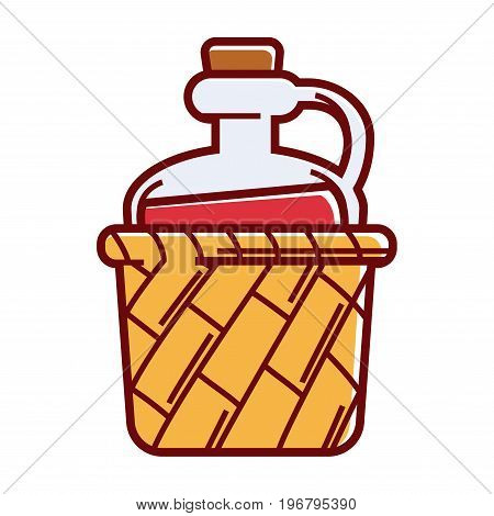 Big glass jug of wine with handle and cork in wicker basket isolated vector illustration on white background. Natural alcohol drink in rural vessel. Homemade beverage with delicious grape taste.