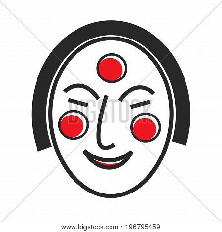 Korean mask with drawn face and red circles on forehead and cheeks isolated cartoon flat vector illustration on white background. Traditional Korean accessory for hiding face at mysterious masquerade.