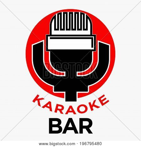Karaoke bar promotional emblem with retro microphone on red circle and big thick sign underneath isolated vector illustration on white background. Traditional Korean public place to sing and dance.