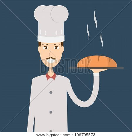 Baker Character Male | set of vector character illustration use for human, profession, business, marketing and much more.The set can be used for several purposes like: websites, print templates, presentation templates, and promotional materials.