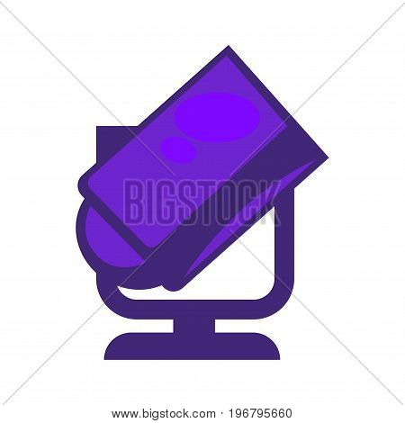 Vector illustration of smple purple colored searchlight isolated on white.