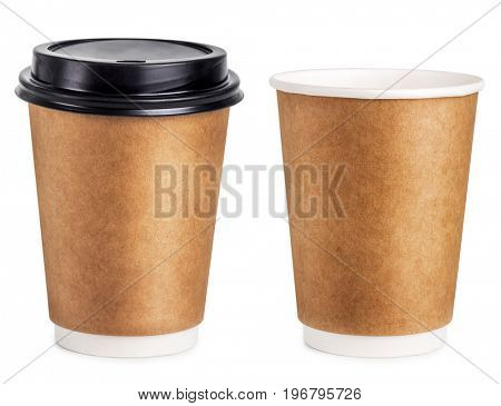 Disposable coffee cup with lid and without lid isolated on white background