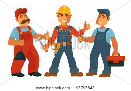 Professions people of car mechanic, constructor or builder and electrician or carpenter and plumber engineer with work tools. Vector isolated flat icons set