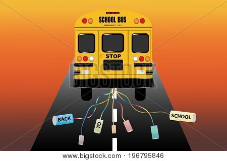 View of the entire rear of the school bus with tied cans with inscription back to school. The bus goes on a road ending in the light of sunset.