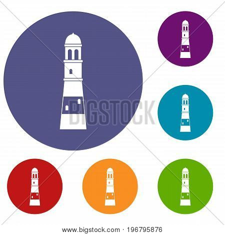 Lighthouse icons set in flat circle red, blue and green color for web