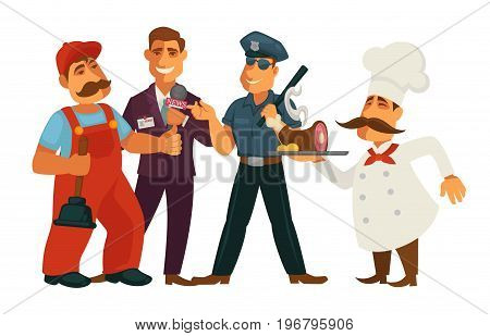 Professions people of plumber repairman, news journalist reporter or policeman guard and restaurant kitchen chef with work tools. Vector isolated flat man icons set