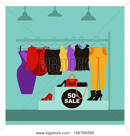 Fashion clothing shop or woman dress clothes boutique store with shopping sale offer. Vector flat design of showcase shop-window with shoes, bags and shirts on hanger