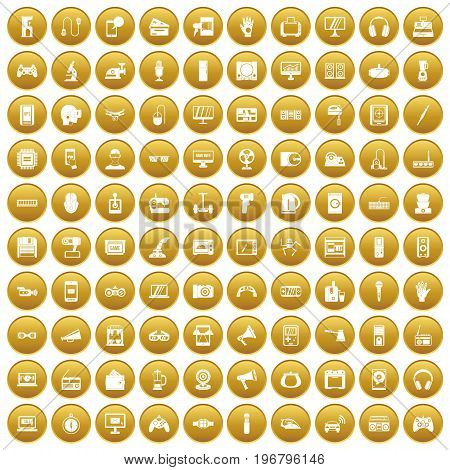 100 device icons set in gold circle isolated on white vector illustration