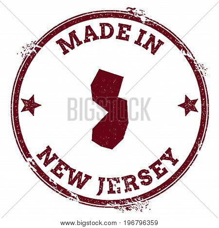 New Jersey Vector Seal. Vintage Usa State Map Stamp. Grunge Rubber Stamp With Made In New Jersey Tex