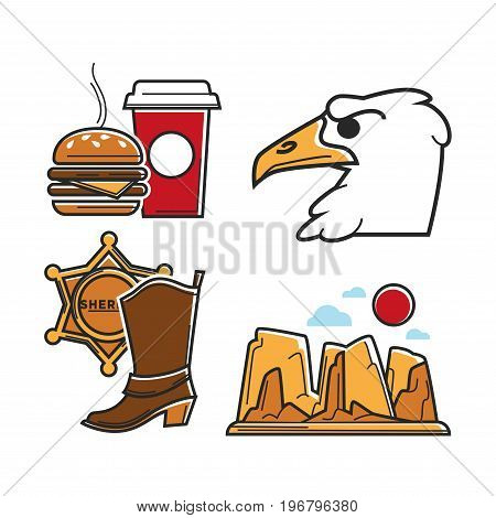 USA tourism travel or America culture symbols of famous tourist attractions. American flag, sheriff star badge and cowboy boots, Colorado canyon or mountain rock, fast food burger and condor eagle