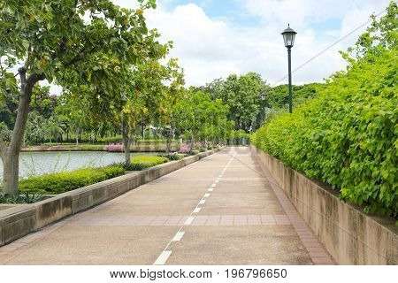 Urban parks or public benjakiti park in day timegarden City Popular vacation destinations of BangkokThailand.