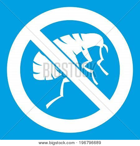 Etching insect icon white isolated on blue background vector illustration