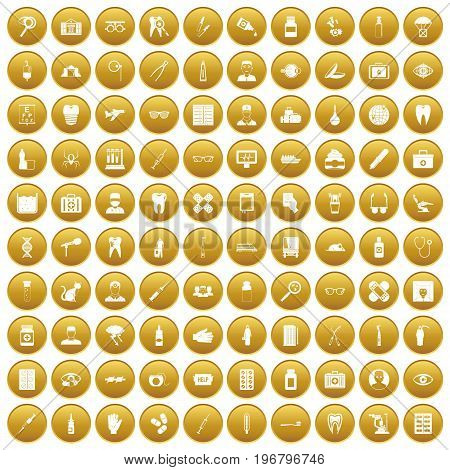 100 doctor icons set in gold circle isolated on white vector illustration