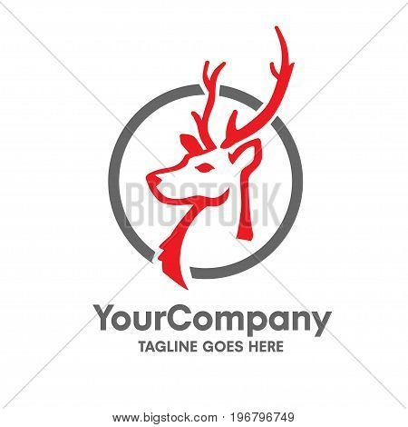 deer head logo with circle vector set design, simple concept of deer head logo with circle vector set design