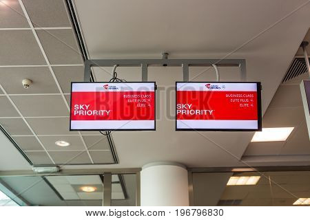 PRAGUE, CZECH REPUBLIC - JUNE 16, 2017: Sky priority pass way for passengers business and economic class