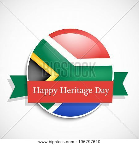 illustration of button in south Africa flag background with Happy Heritage Day text on the occasion of Heritage Day