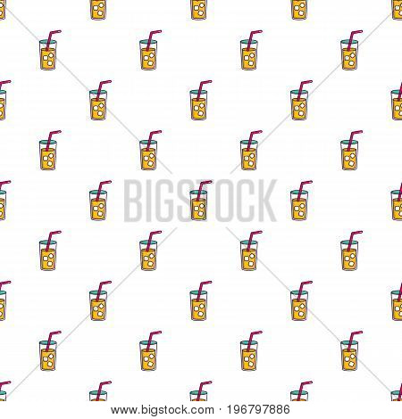 Glass of coctail with straw pattern seamless repeat in cartoon style vector illustration