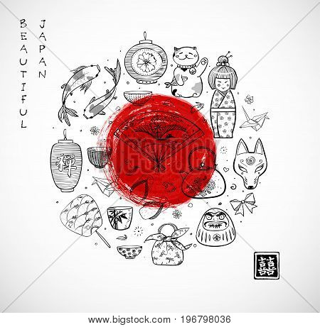 Japan doodle sketch elements and big red sun on white background. Symbols of Japan. Contains hieroglyphs - double luck, zen.