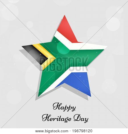 illustration of star in south Africa flag background with Happy Heritage Day text on the occasion of Heritage Day