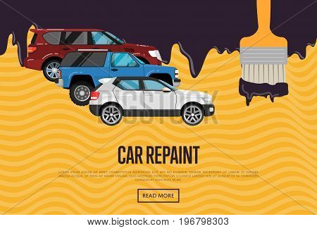 Car repainting business concept with city cars. Auto business advertising, automobile painting, car renewal and dyeing company, professional auto repair service vector illustration.