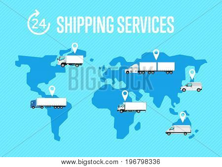 Shipping services poster with commercial transport on global map. Worldwide freight trucking service, cargo transportation company, business advertising. Logistics and delivery vector illustration