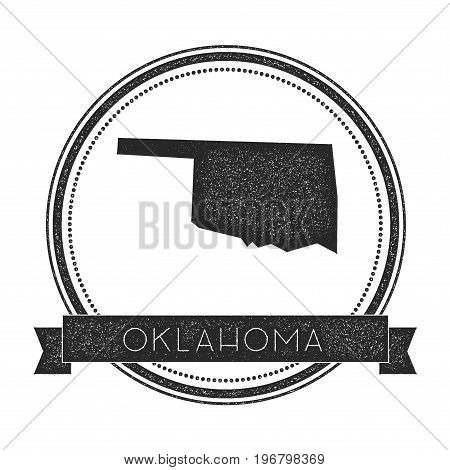 Oklahoma Vector Map Stamp. Retro Distressed Insignia With Us State Map. Hipster Round Rubber Stamp W