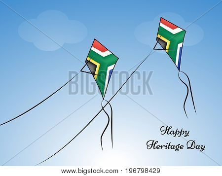 illustration of kites in south Africa flag background with Happy Heritage Day text on the occasion of Heritage Day