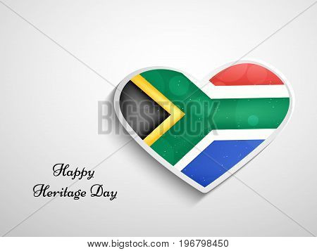 illustration of heart in south Africa flag background with Happy Heritage Day text on the occasion of Heritage Day