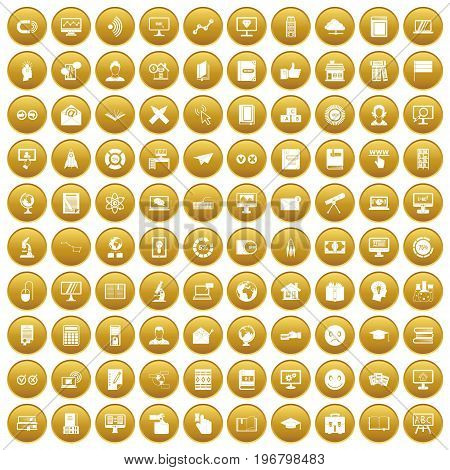 100 e-learning icons set in gold circle isolated on white vector illustration