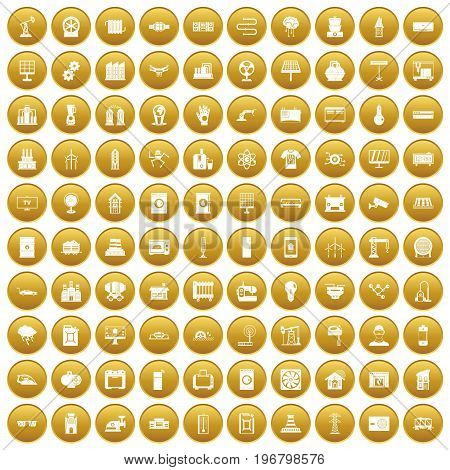 100 electrical engineering icons set in gold circle isolated on white vector illustration