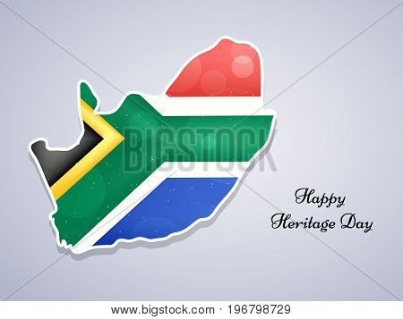 illustration of South Africa map in south Africa flag background with Happy Heritage Day text on the occasion of Heritage Day