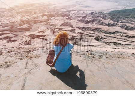 Woman On Top Of Layer Volcanic Ash As Sand Ground Of Mount Bromo Volcano (gunung Bromo) At Bromo Ten