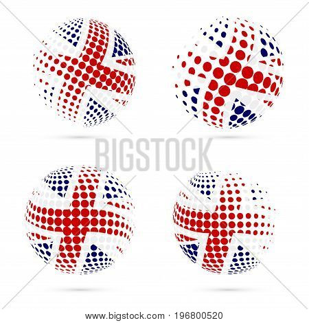 United Kingdom Halftone Flag Set Patriotic Vector Design. 3D Halftone Sphere In United Kingdom Natio