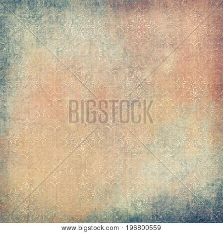 Vintage fabric background with embroidered retro pattern. Tapestry digital illustration