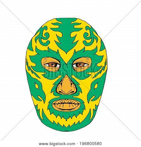 Illustration of a Luchador Mask with fiery flames and fire viewed from front done in Drawing hand-sketched style on isolated background