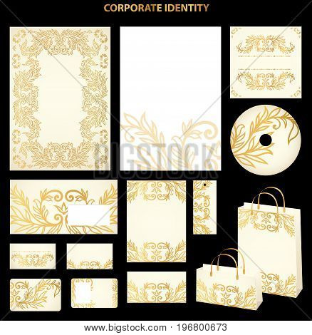 Golden Business style templates with abstract pattern. Vector
