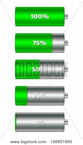 Battery charge level indicators in green color. Set of discharge and fully charged power cells icons to your design. Vector illustration infographics.