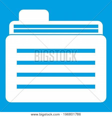 File folder icon white isolated on blue background vector illustration
