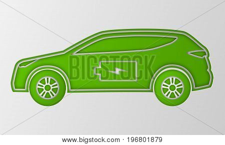 Green hybrid car in paper art style. Electric powered environmental vehicle side view. Contour automobile with battery sign. Vector illustration.
