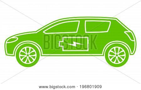 Green hybrid car icon. Electric powered environmental vehicle. Contour automobile with battery sign. Vector illustration.
