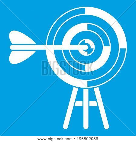 Target with an arrow icon white isolated on blue background vector illustration