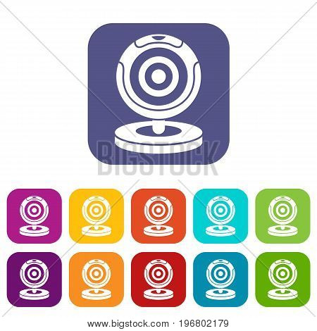 Webcam icons set vector illustration in flat style in colors red, blue, green, and other
