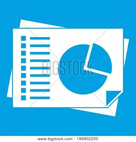 Sheets of paper with charts icon white isolated on blue background vector illustration