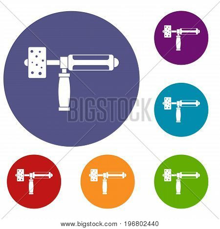 Precision grinding machine icons set in flat circle red, blue and green color for web