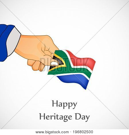 illustration of hand holding south Africa flag background with Happy Heritage Day text on the occasion of Heritage Day