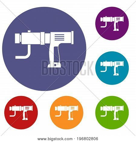 Hand drill icons set in flat circle red, blue and green color for web